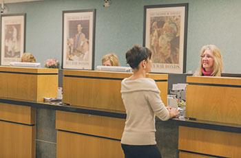woman at bank